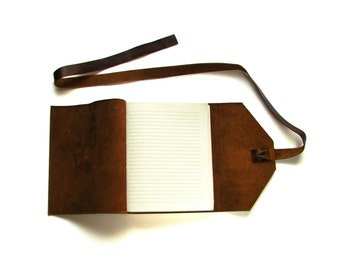 Lined Leather Journal, Leather Notebook, Rustic Journal in Dark Brown with Double Wrap Tie