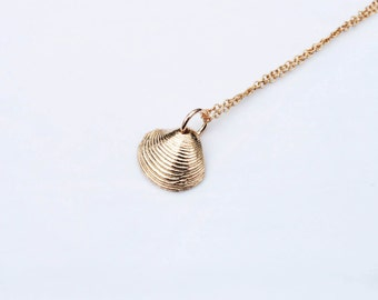 Gold shell necklace Etsy