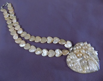 Blister Heart Pearl and Heart Pearl Necklace