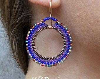 Beaded-Metallic-Purple-Blue-Gold-Hoop-Earrings / Free US Shipping