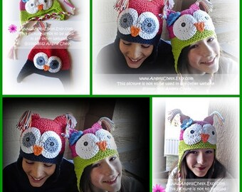 PDF Crochet Pattern No. 24 Owly sooo Cute earflat hat Boy and Girl Sizes 5T to Adult by AngelsChest