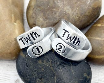 Sister Rings - Best Friend Rings - Twin Rings - Twin 1 Twin 2 - Thing 1 Thing 2 - Twin Jewelry - Matching Rings - Friendship Rings