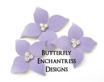Purple Wedding, Bridal Hair Flowers, Wedding Hair Accessories, Bridesmaid Gift - 3 Lavender Hudson Dogwood Bridal Hair Pin Set