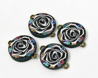 Black rose beads/ flower beads/ polymer clay beads/ rose cabochon/ floral beads/ jewelry supply/ round flat beads/ handmade rose beads