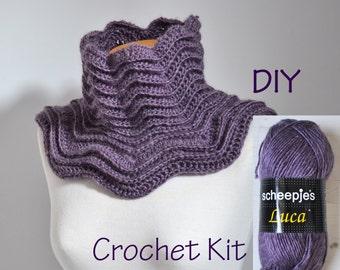 DIY Crochet Kit, Crochet Cowl kit, STAR, yarn and pattern