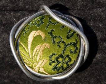 Green Silk Brocade. Silk. Loopster.