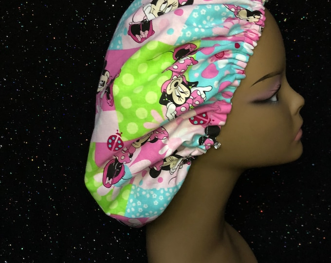 Minnie Mouse Satin Lined Bonnet (Teal/Pink/Green)