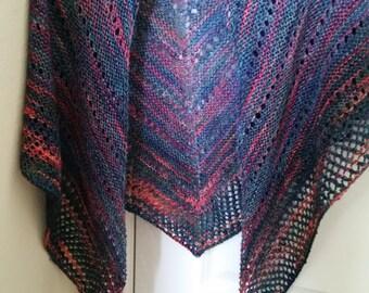 Shawl - Hand Knit Multi-Colored Triangular Shawl