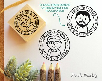 Spanish Teacher Rubber Stamp, Personalized Teacher Stamp, Male Spanish Teacher Gift - Choose Hairstyle and Accessories