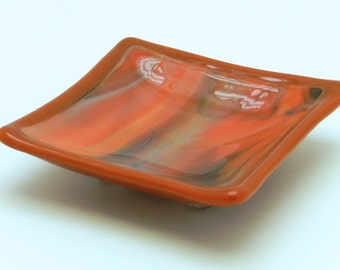 "Ring Dish, Jewelry Dish, Tea Bag Rest, Tea Bag Holder, Small Green and Orange Glass Dish, , 3-1/4"" Square."