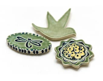 Hummingbird, Flower, and Dragon Fly (Set of 3)