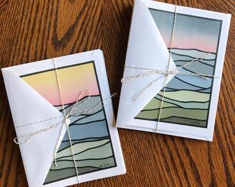 Blue Ridge Views notecard set, blank notecards. (6 cards per set.)