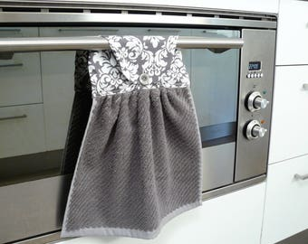 Hanging Hand Towel - dark grey towel with grey and white damask