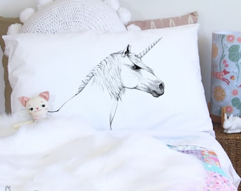 Unicorn pillowcase, head, facing right. White, monochrome, cotton, pillowslip, sham for bed, by flossy-p