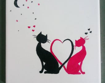 Street romantic cats in love