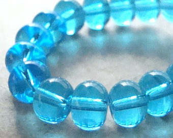 Glass Beads 8 x 6mm Aqua Blue Smooth Translucent Rondelles - 20 Pieces
