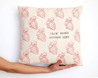 Custom pillow, anatomical heart, love quote, love gift, cardiology, personalized pillow, nurse gift, medical student, heart pillow love sign