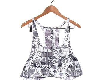 80s floaty Black White Squiggle Racerback Crop Top only one Handmade M