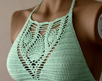 Crochet Top, Crochet Halter Top, Mint Color Women Bustier, Swimwear Top, Swimsuit Top, Beach Wear, 2017 Summer Trends /// FORMALHOUSE