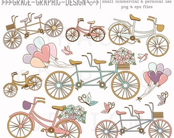 Tandem Bicycle ClipArt Set, Pink and Blue Bike Digital Illustrations, Wedding Tandem Bike Clipart, Instant Download Small Commercial Use