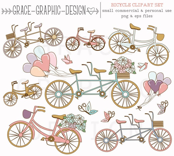 Tandem Bicycle ClipArt Set Pink And Blue Bike Digital Illustrations Wedding Clipart Instant Download Small Commercial Use From