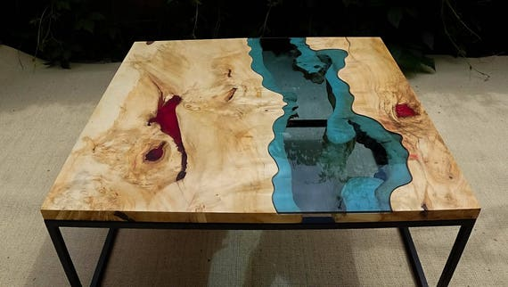 SOLD Live Edge River Coffee Table With Red Epoxy Inlay