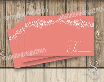 coral wedding place cards