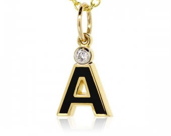 "French Enamel Letter ""A"" 18K Yellow Gold Charm"