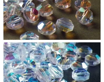 20 Vintage Swarovski Crystal Beads, Alexandrite With Aurore Boreale Finish Article 335 Also Known As 5100, 6mm Crystal Beads