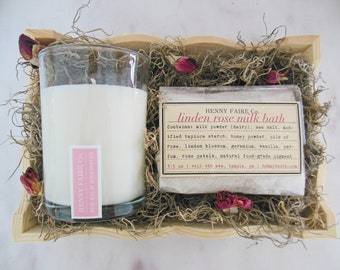 mothers day gift set | rose spa gift set for mom | 7 oz bee balm rosewater candle & linden rose milk bath sachet | eco friendly packaging