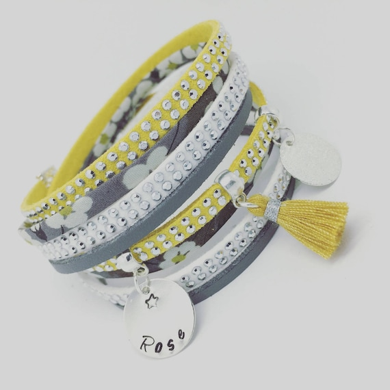 ★ Gift idea personalized ★ multi-row Liberty of London with personalized engraving by Palilo Jewelry Personalized Bracelet