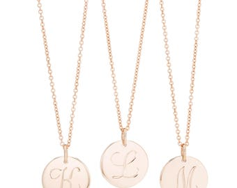 "Large 14K Rose Gold Initial Charm Necklace, Rose Gold Letter Charm 1/2"" Pendant, Personalized Initial Necklace, Made to order in 10-12 days"