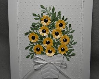 Yellow daisies, black-eyed susan card, black-eyed susans in a planter, black-eyed susan daisies, dimensional, embossed, blank inside