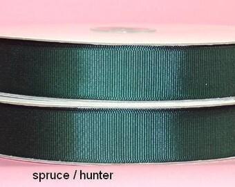7/8 inch x 25 yds grosgrain ribbon - HUNTER/SPRUCE