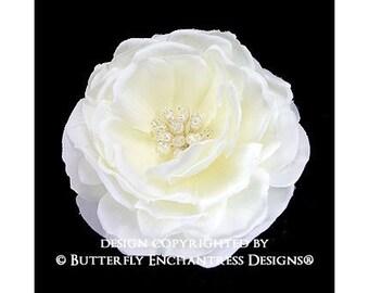 Pearl Crystal Blooming Ivory Moroccan Rose Bridal Hair Flower Clip