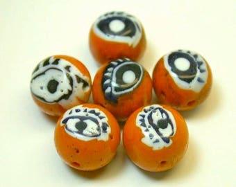Vintage Millefiori Glass Beads EYES Orange Black 7-9 mm pkg6 eye11
