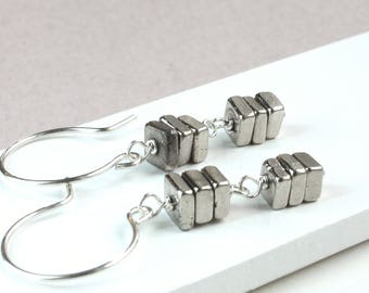 Pyrite   Earrings    Sterling Silver    Stacked Earrings  Gemstone Jewelry    Gem Stone Jewelry Fools Gold Chunky Jewellery Every Day