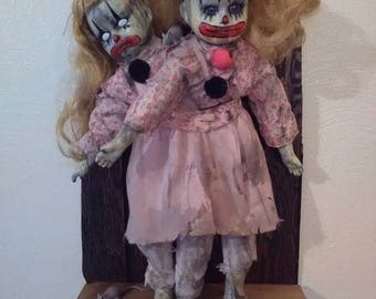 Haunted Conjoined Twins Clown Zombie Doll! WOW!