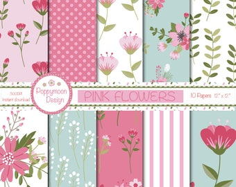 Pink flowers  digital paper pack