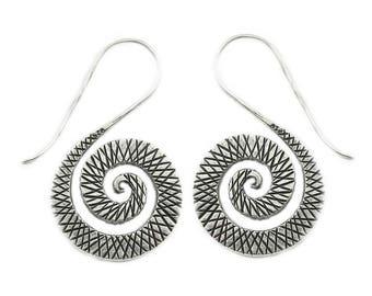 Sterling Silver Spiral Boho Statement Earrings, Handmade Large Ethnic Tribal Gypsy Hippie Rustic Flat Dangle Swirls Oxidized Silver Earrings