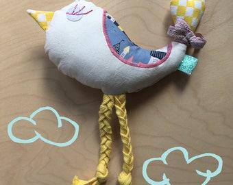 Bird Plush Rattle Baby Rattle Toy Cotton Rattle Scandinavian print fabric Best newborn gift