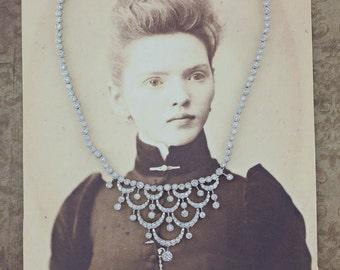 GORGEOUS Vintage 18k White Gold 5.5 CARATS Diamond Necklace 15.5 Inches