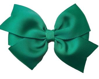 Dark green hair bow - hair bows, hair bows for girls, toddler hair bows, baby bows, big hair bows, bows, pigtail bows, hair clips, hairbows