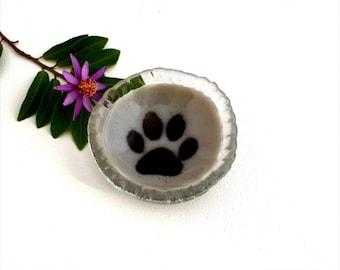 Small fused glass bowl, medium gray, cat paw, paw print, pet