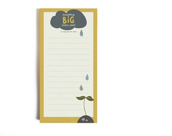 """Notepad """"Everything big starts small"""" - Note Pad DIN A lang Illustration To Do List Conscious eco friendly Flower thoughts drops whimsical"""