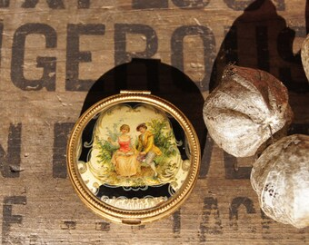 Vintage Painted Powder Compact with Mirror