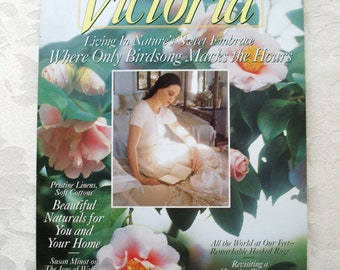 Vintage Victoria magazine~April 1994~Living in Nature's Sweet Embrace~pristine linens~soft cottons~palm conservatory~Maryjo Koch's Art