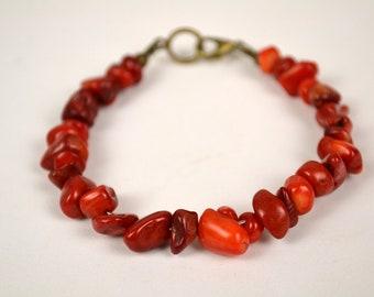 Red coral bracelet, Coral bracelet, Natural red coral bracelet, Red coral chips bracelet, Red coral jewelry, Red coral unique bracelet.