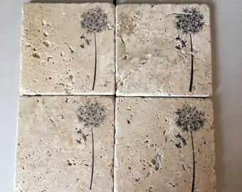 Wildflower stone coaster set