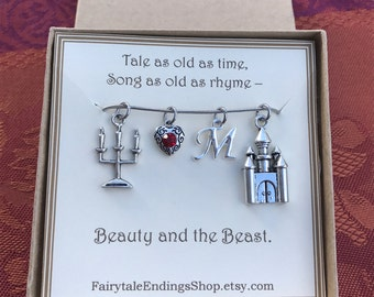 Beauty and the Beast Necklace - C243 - Beauty and the Beast Jewelry - Beauty and the Beast Wedding - Personalized Beauty and the Beast Gift